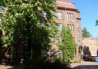 Schulgebäude mit Baum